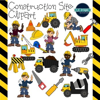 Construction Site Clipart {L.E. Designs}