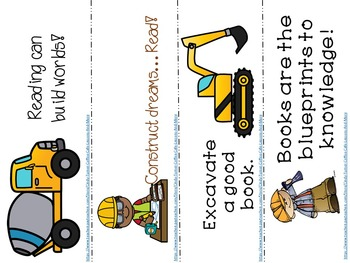 Construction Site Themed Bookmarks