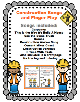 Construction Songs And Finger Play By Preschool Printable