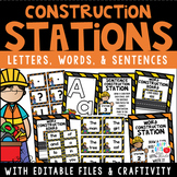Construction Stations-Letters,Words,and Sentences w/Editab