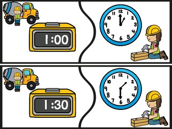 Construction Telling Time Puzzles