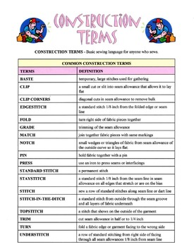 Construction Terms Used In Garment Construction Lesson