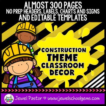 Construction Theme Classroom Decor Editable Construction Classroom