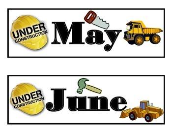 Construction Calendar! Construction Bulletin Board! Construction Theme!