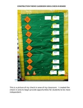Construction Theme Classroom Job & Check-In Board