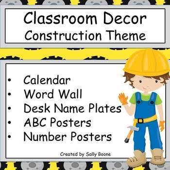 Construction Theme Decor Bundle Calendar, Word Wall, Welcome and More