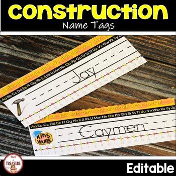 Name Tags Editable (Type Names & Print) Construction Theme Classroom Decor