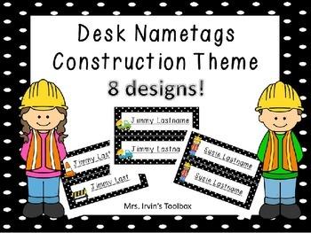 Construction Theme Desktags Nametags Deskplates - Editable!