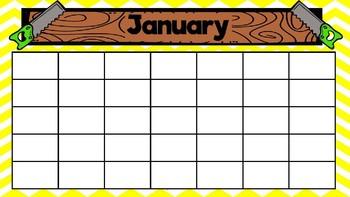 Construction Theme Editable Calendar