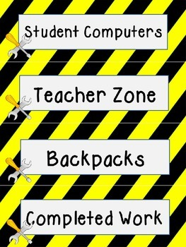 Construction Theme Labels Upper Grades Editable!