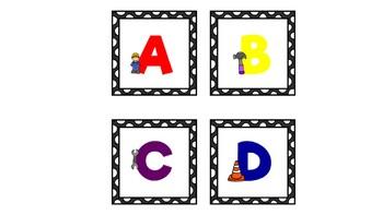 Construction Theme Letter Labels A-Z, 4 Different Designs