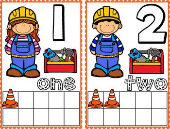 Construction Theme Math Frame Cards