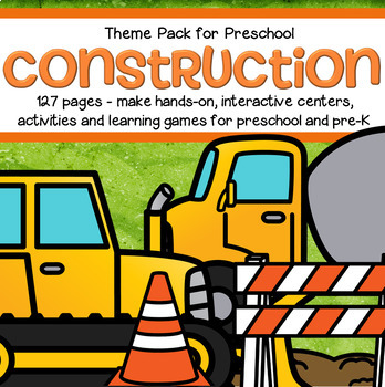Construction Theme Math and Literacy Centers for Preschool and Pre-K