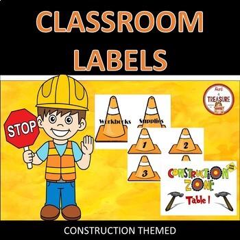 Construction Theme Classroom Decor Room Labels