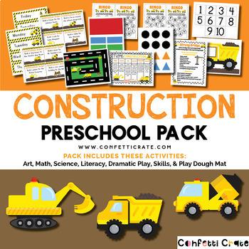 Construction Activities Preschool (color and black & white version)