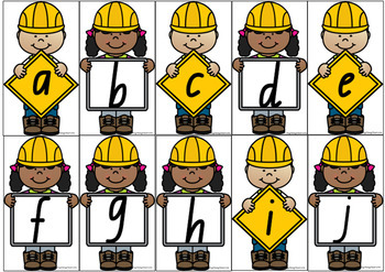 Upper & Lower Case Letter Match - Construction Theme