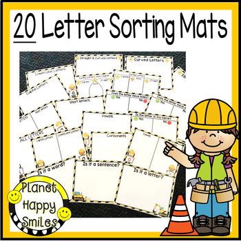 Construction Themed Alphabet Letter Sorting Mats