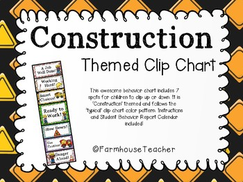 Construction Themed Behavior/Clip Chart