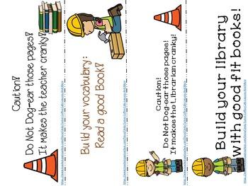 Construction Themed Bookmark Freebie