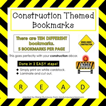 Construction Themed Bookmarks