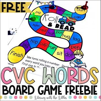 Construction Themed CVC Word Board Game Freebie