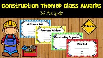 Construction Themed Class Awards-Editable-Print and Go