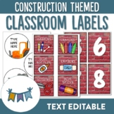 Construction Themed Classroom Labels