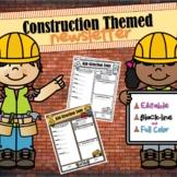 Construction Themed Classroom Newsletter