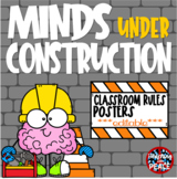 Construction Themed Classroom Rules Posters  **editable**