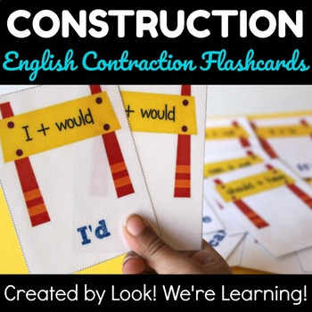 Construction Themed Contraction Flashcards