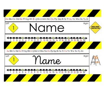 Construction Themed Name Plate (editable)