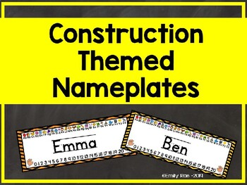 Construction Themed Nameplates - Bold and Bright EDITABLE