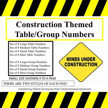 Construction Themed Table/Group Numbers