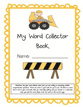 Construction Themed Word Collector Book