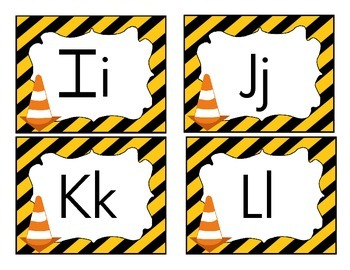 Construction Themed Word Wall Letters
