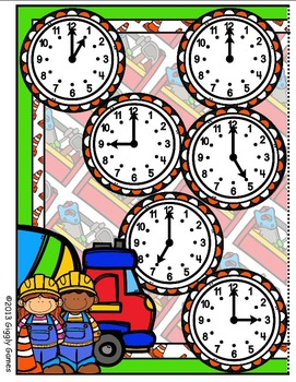 Construction Time Telling Time to the Hour File Folder Game