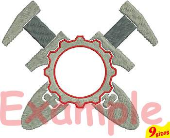 Construction Tools Embroidery Design 4x4 5x7 hoop mechanic Wrench tool 125b