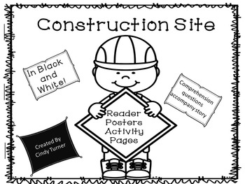 Construction Tools Emergent Reader Black and White Version