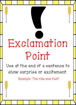 Construction Tools Themed - Punctuation Posters