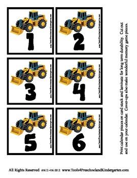 Construction Transportation Equipment Themed Calendar Pieces - Memory Game PreK
