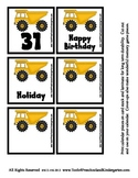 Construction Transportation Equipment Themed Calendar Piec