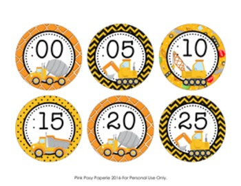 Construction Truck Clock Number Labels