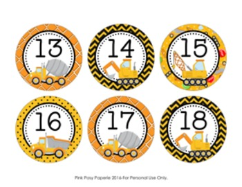 Construction Truck Cubby Number Labels 1-30