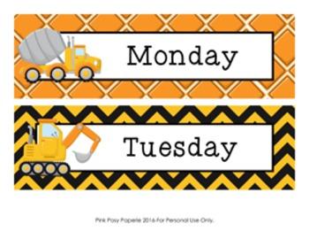 Construction Truck Days of the Week Calendar Headers