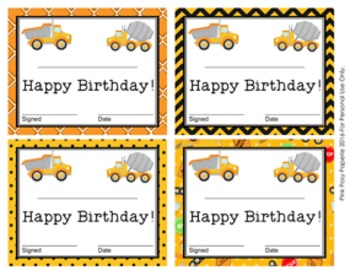 Construction Truck Theme Birthday Certificates
