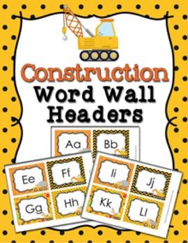 Construction Truck Word Wall Headers