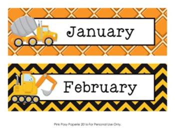 Construction Trucks Calendar Headers