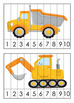 Construction Trucks Numbers 1-10 Counting Strip Puzzles