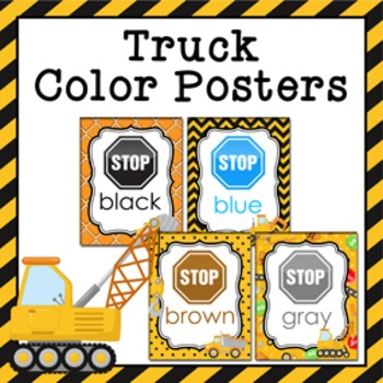 Construction Trucks Theme Color Posters