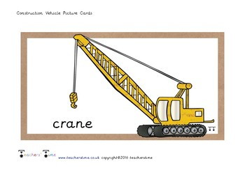 Construction Vehicle Picture Cards